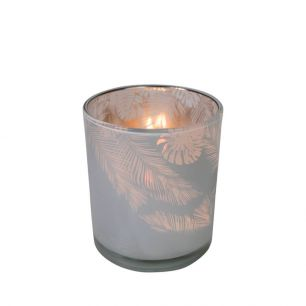*waxinelichthouder glas jungle melkwit 10cm*