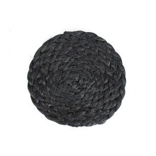 Jute onderzetter zwart Ø10cm*