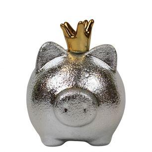Spaarpot varken zilver met gouden kroon medium*
