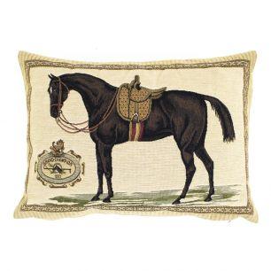 Gobelin kussen paard zadel bruin 30x45cm