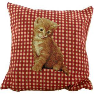 *gobelin kussen geruit kat rood 33x33cm*