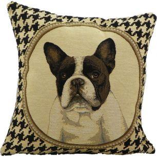 Gobelin kussen franse bulldog dubbelzijdig 33x33cm*