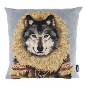 Gobelin kussen jas wolf 45x45cm