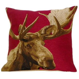 *gobelin kussen rood eland 45x45cm*