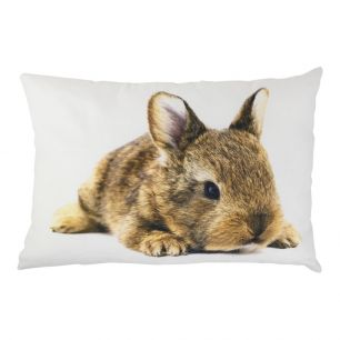 Canvas kussen wildkleur konijntje 35x50cm