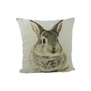 Canvas kussen konijn grijs dubbelzijdig 33x33cm