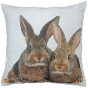 Canvas kussen 2 konijnen bruin 50x50cm