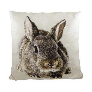 Canvas kussen konijn bruin/grijs 50x50cm