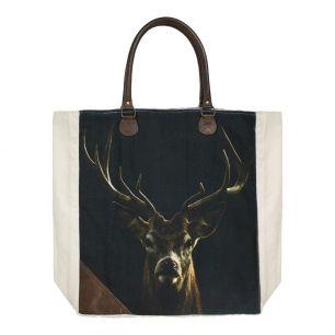 Canvas shopper zwart hert
