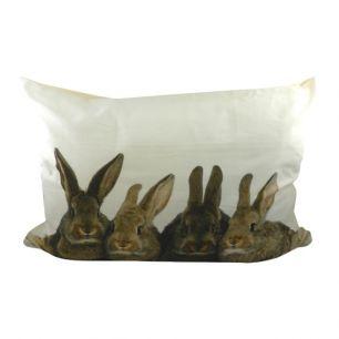 Canvas kussen xl konijnen bruin 50x70cm*
