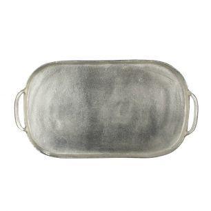Dienblad silver look ovaal 52x30cm*
