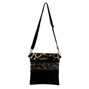 Crossbody tas verticaal zwart giraffe *