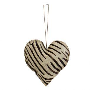Hangdecoratie zebra hart groot 20cm*