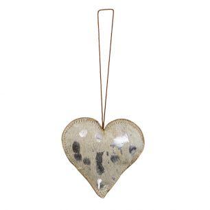 Hangdecoratie zilver hart medium 10cm*