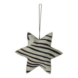 Hangdecoratie zebra ster groot 20cm*