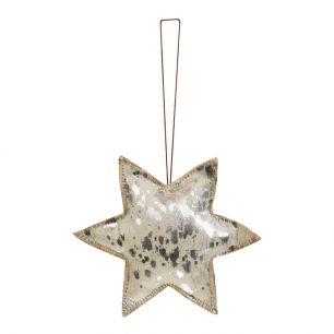 Hangdecoratie zilver ster groot 20cm*