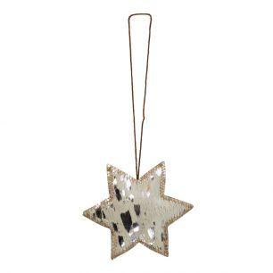 Hangdecoratie zilver ster medium 10cm*