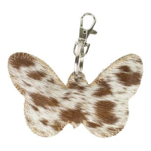 Sleutelhanger vlinder bruin/wit*