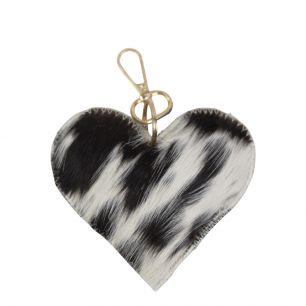 Sleutelhanger koehuid hart zwart/wit medium goud