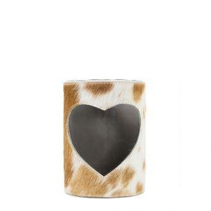 Windlicht koe hart bruin/wit 10cm