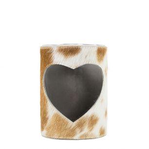 Windlicht koe hart bruin/wit 15cm