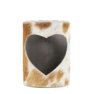 Windlicht koe hart bruin/wit 20cm