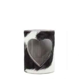 Windlicht koe hart zwart/wit 10cm