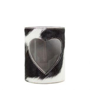 Windlicht koe hart zwart/wit 15cm
