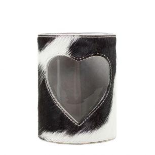 Windlicht koe hart zwart/wit 20cm