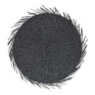 Zeegras placemat rond zwart franjes