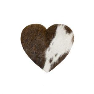 Onderzetter koe hart bruin/wit 14cm*