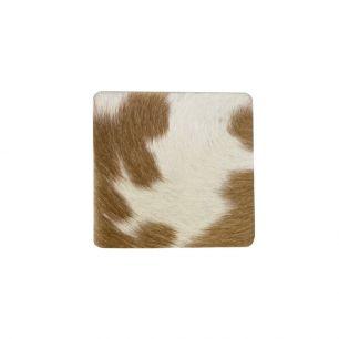 Onderzetter koehuid vierkant bruin/wit 9x9cm*
