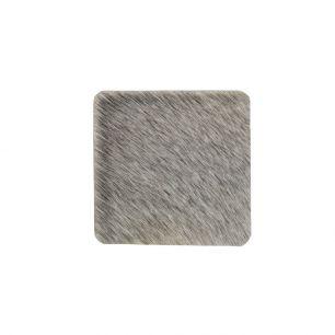 Onderzetter koehuid vierkant grijs 9x9cm*