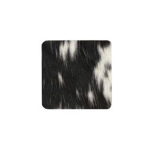 Onderzetter koehuid vierkant zwart/wit 9x9cm*