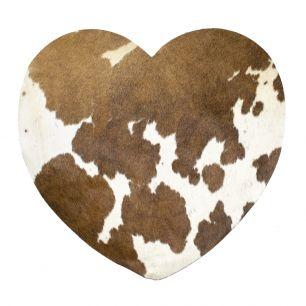 Placemat koe hart bruin/wit*