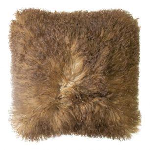 Groot kussen schaap wol bruin 50x50cm