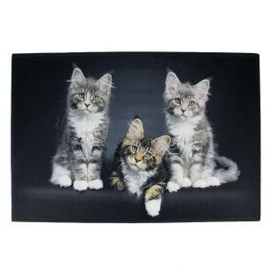 Deurmat zwart 3 kittens*