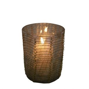 Waxinelicht filigrain1 recht bruin 10cm*