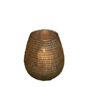 Waxinelicht filigrain3 bol goud 10cm*