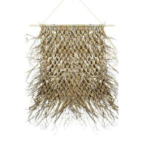 Wandkleed gevlochten palmblad aan stok 80cm