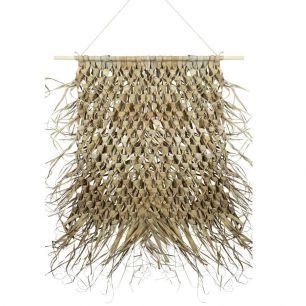 Wandkleed gevlochten palmblad aan stok 90cm
