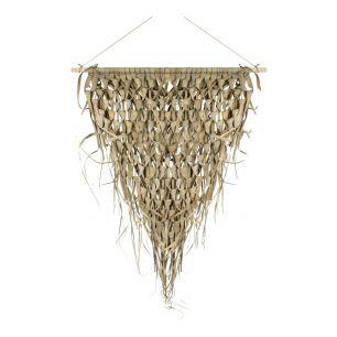 Wandkleed gevlochten palmblad driehoek 55cm aan stok