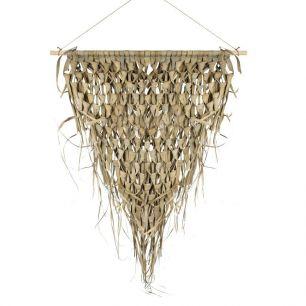 Wandkleed gevlochten palmblad driehoek 75cm aan stok